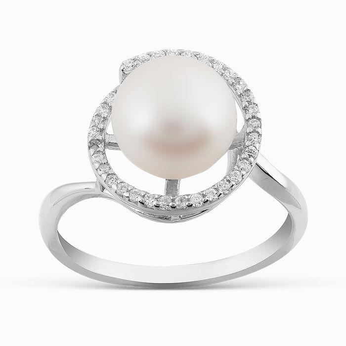 Серебряное кольцо Жемчуг и Фианит арт. 05790 05790