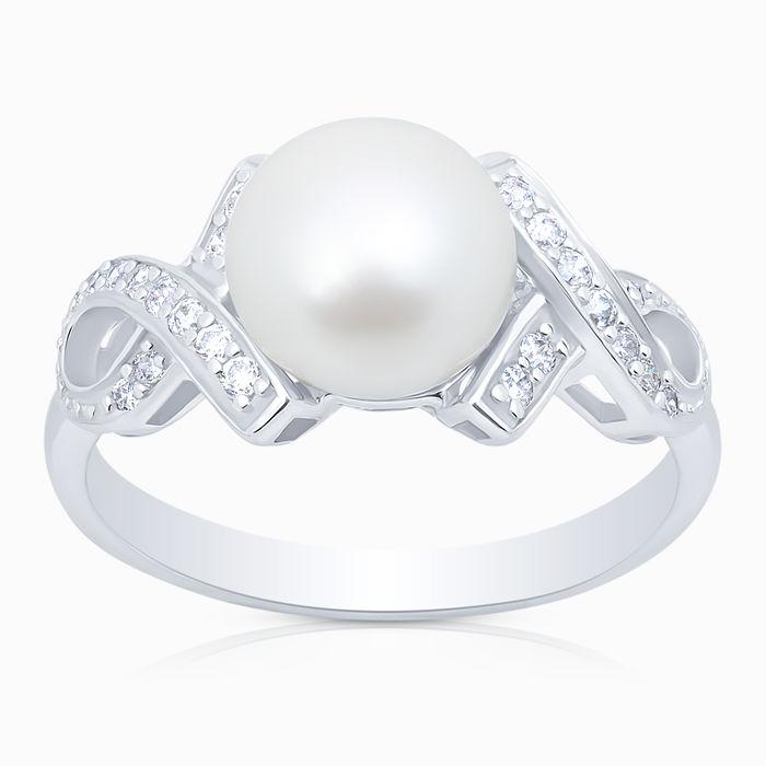 Серебряное кольцо Жемчуг и Фианит арт. 02956 02956