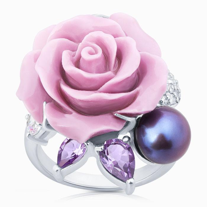 Серебряное кольцо Аметист, Жемчуг, Коралл и Фианит арт. 06255 06255