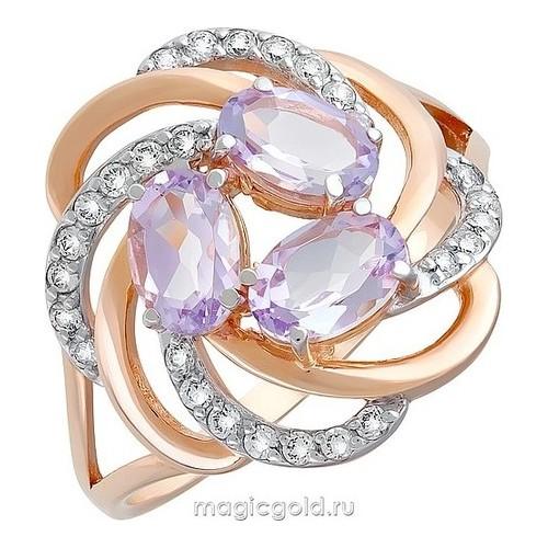 Золотое кольцо Аметист и Фианит арт. кл-462к-а кл-462к-а