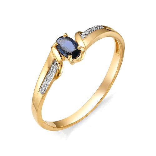 Золотое кольцо Бриллиант и Сапфир арт. 1-105-768-02 1-105-768-02
