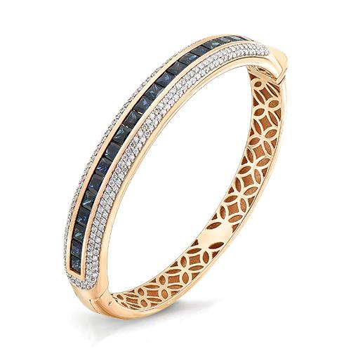 Жесткий браслет из золота с бриллиантом и сапфиром арт. 10-141-02 10-141-02
