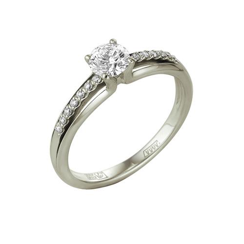 1-104-953 Помолвочное кольцо из белого золота с бриллиантом