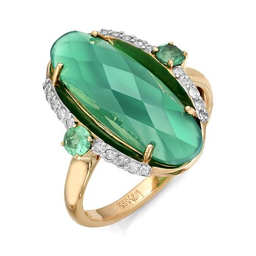 Золотое кольцо Бриллиант, Изумруд и Оникс арт. 1-105-857-14 1-105-857-14