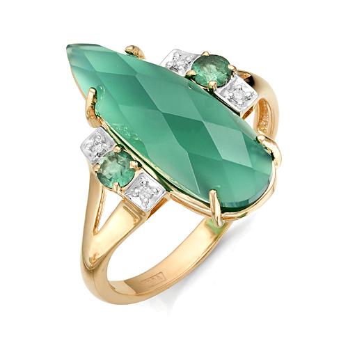 Золотое кольцо Бриллиант, Изумруд и Оникс арт. 1-105-875 1-105-875