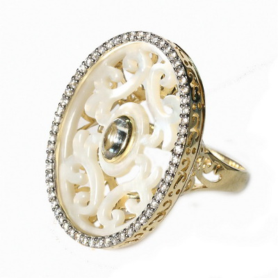 RGA104 Кольцо серебряное с позолотой