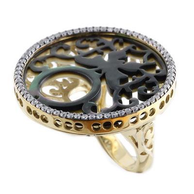 RGA106-1 Кольцо серебряное с позолотой
