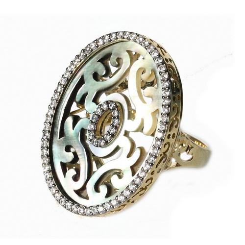 RGA093 Кольцо серебряное с позолотой