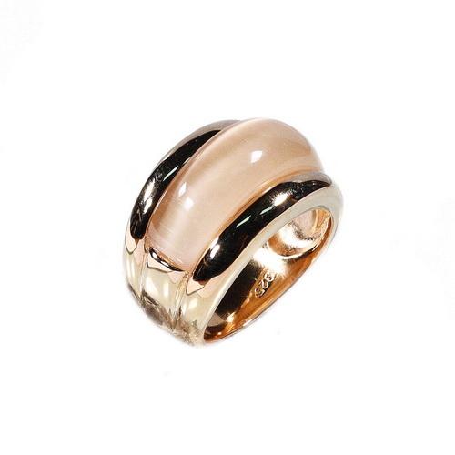 RIC147-7 кольцо серебряное с позолотой