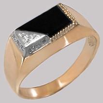 1-0705 Золотая печатка с фианитом