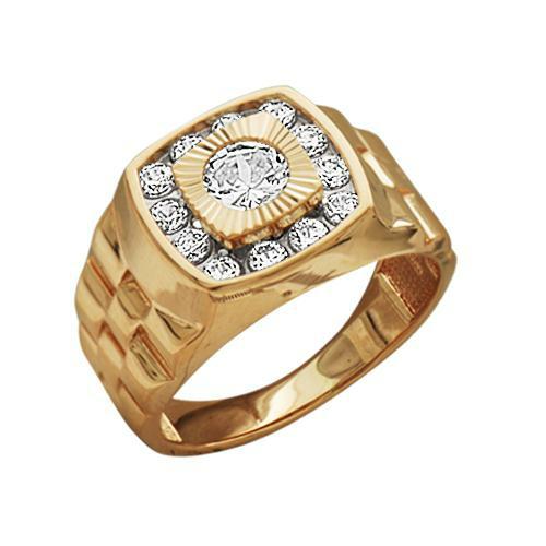 1-0981 Золотая печатка с фианитом