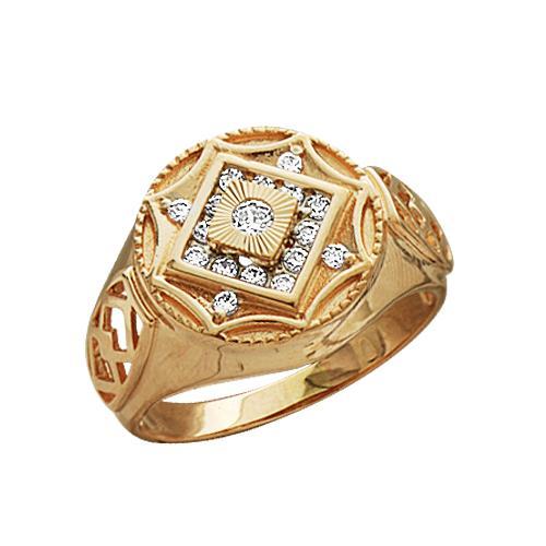 1-0982 Золотая печатка с фианитом