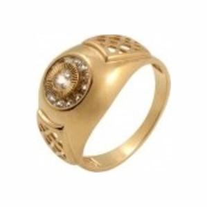 1-0984 Золотая печатка с фианитом