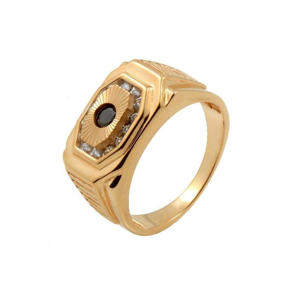 1-0987 Золотая печатка с фианитом