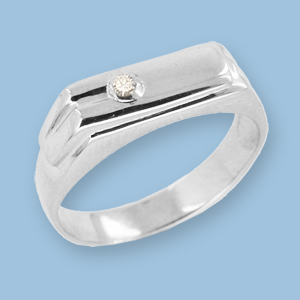 05120009-6 Серебряная печатка с фианитом