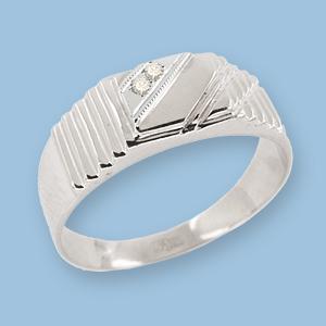 05120010-6 Серебряная печатка с фианитом