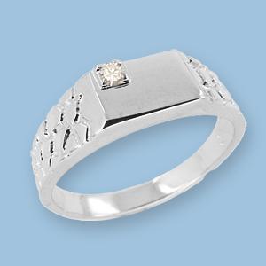 05120012-6 Серебряная печатка с фианитом