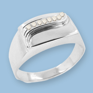 05120014-6 Серебряная печатка с фианитом