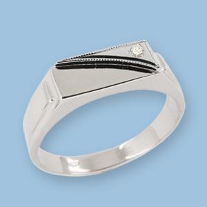 05120019-6 Серебряная печатка с фианитом