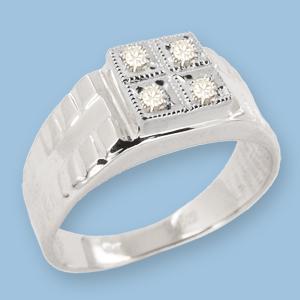 05120038-6 Серебряная печатка с фианитом