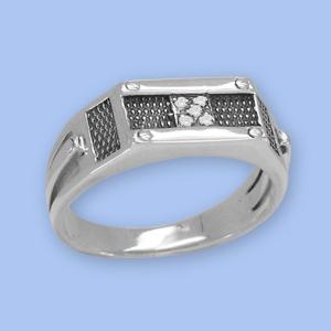 25120081-6 Серебряная печатка с фианитом