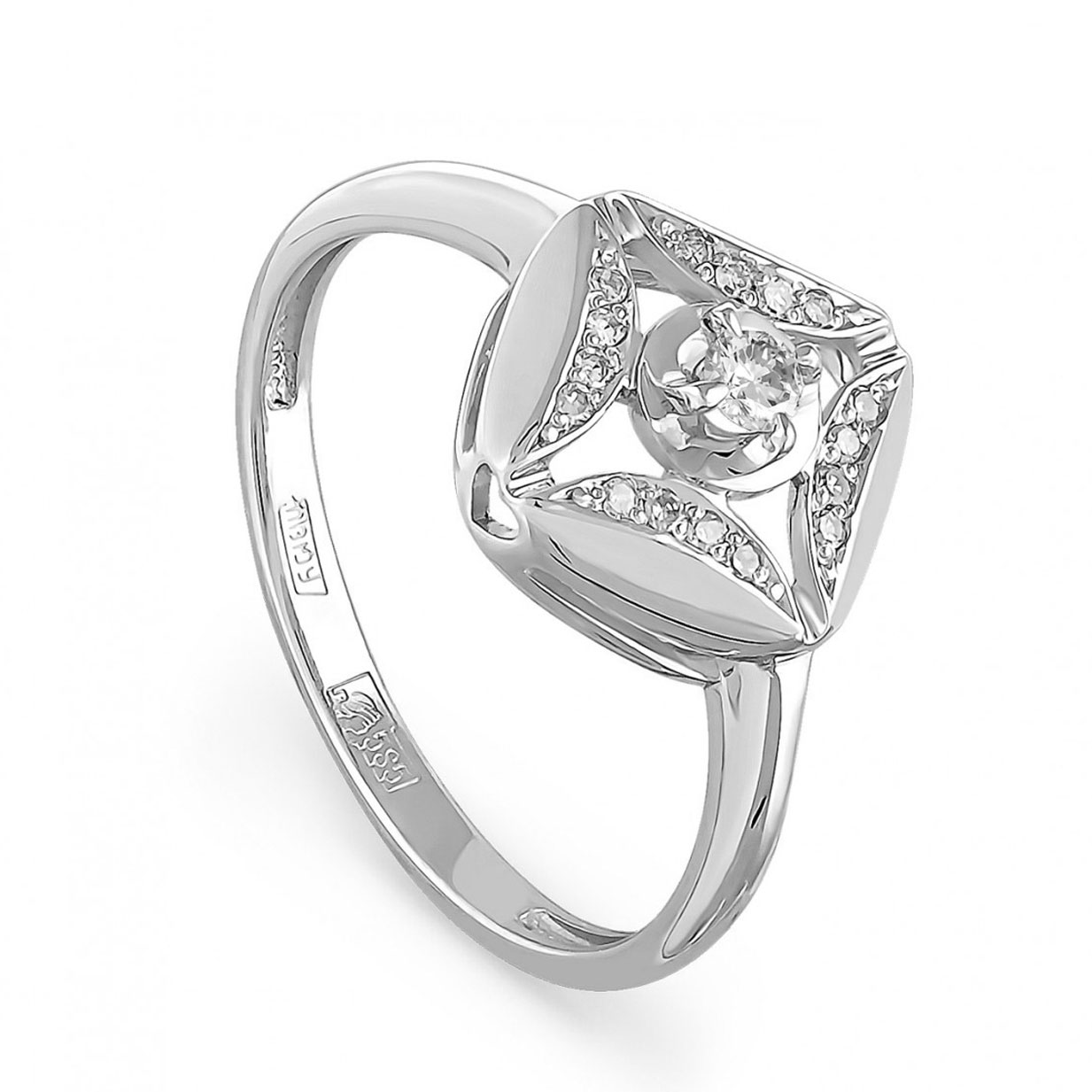 11-1446 кольцо из белого золота