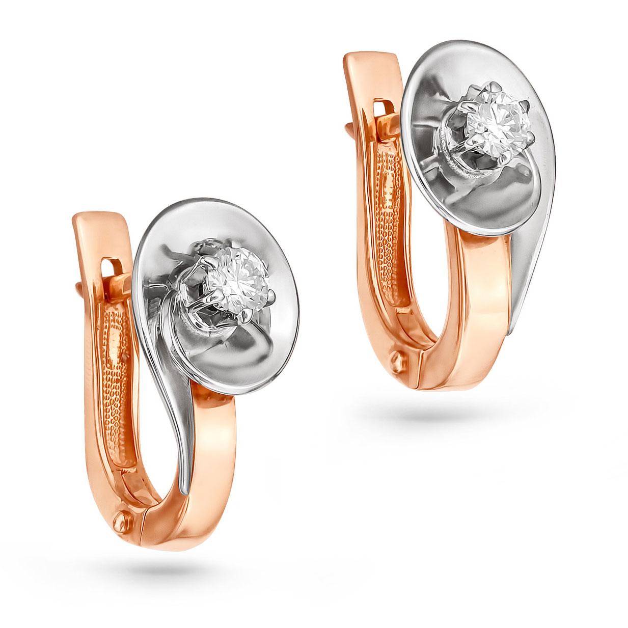Золотые серьги с бриллиантом арт. 12-0475 12-0475