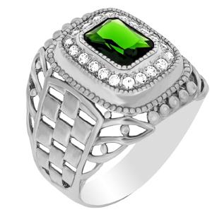 км-96/8 Серебряная печатка с зелёным агатом и фианитом