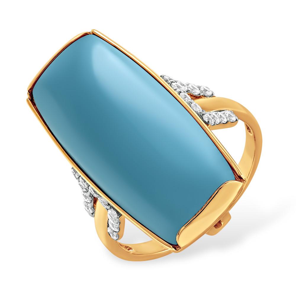 Золотое кольцо Бирюза и Фианит арт. 12100049 12100049