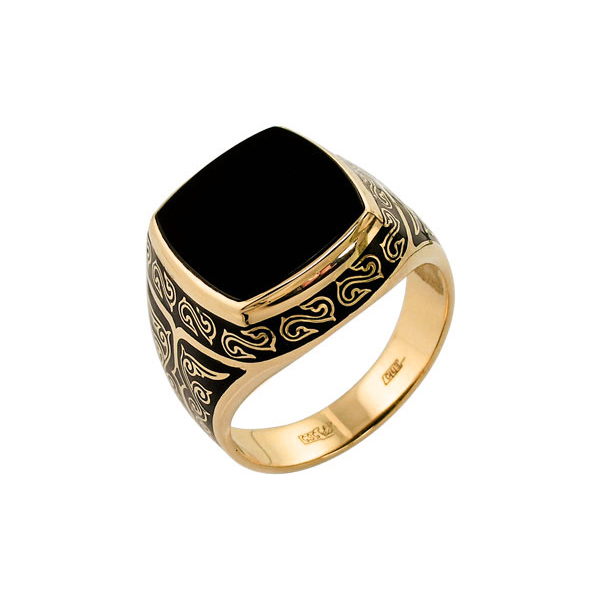 15100010 Золотая печатка с ониксом и эмалью
