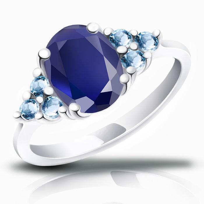 Серебряное кольцо Сапфир и Топаз арт. 00398 00398