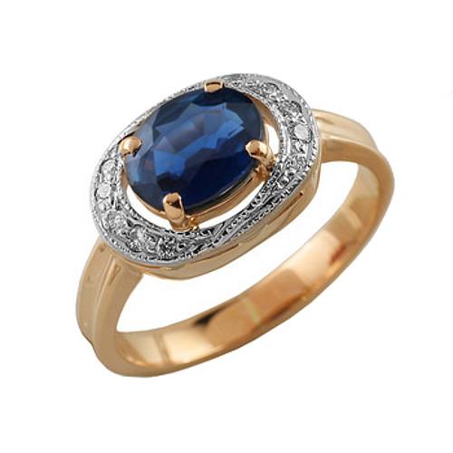 Золотое кольцо Бриллиант и Сапфир арт. 90061 90061