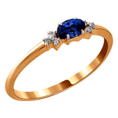 Золотое кольцо Бриллиант и Сапфир арт. 110386298 110386298