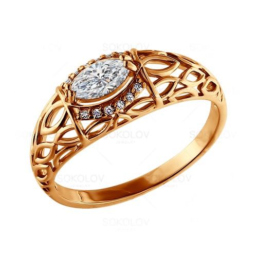 93010296 Кольцо серебряное с позолотой