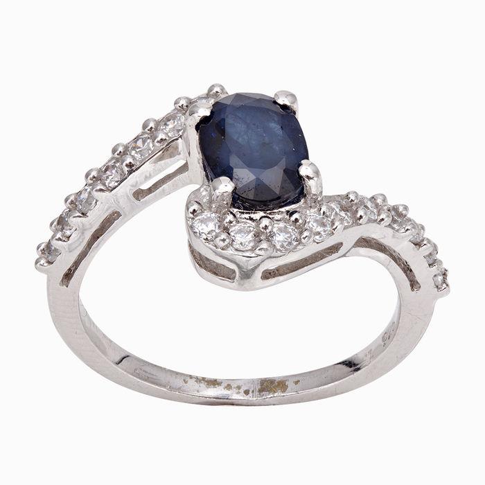 Серебряное кольцо Сапфир и Фианит арт. 04283 04283