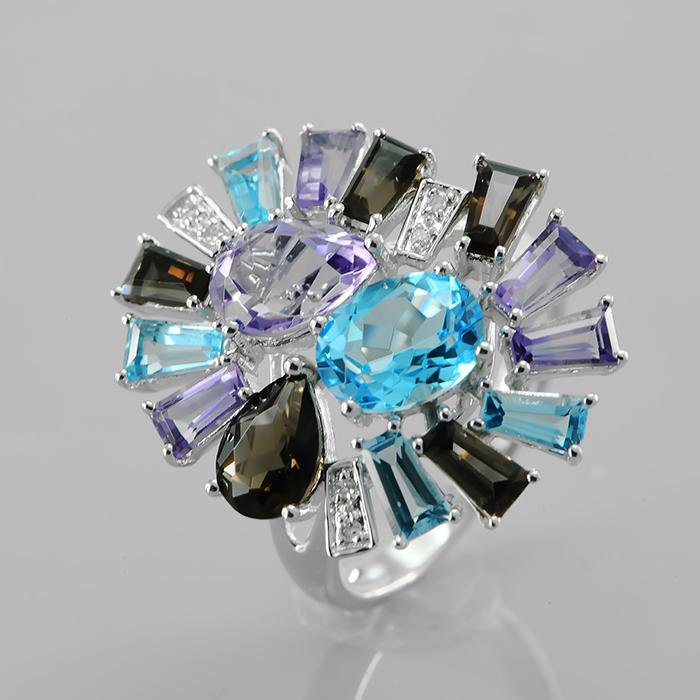 Кольцо из белого золота Бриллиант и Топаз арт. s883mca4wt s883mca4wt