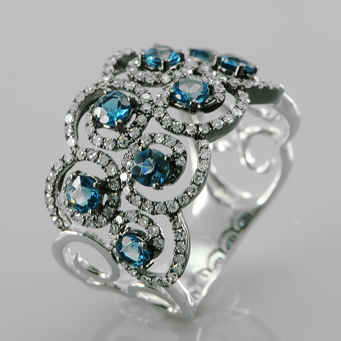 Кольцо из белого золота Бриллиант и Топаз арт. l957bla4wx l957bla4wx