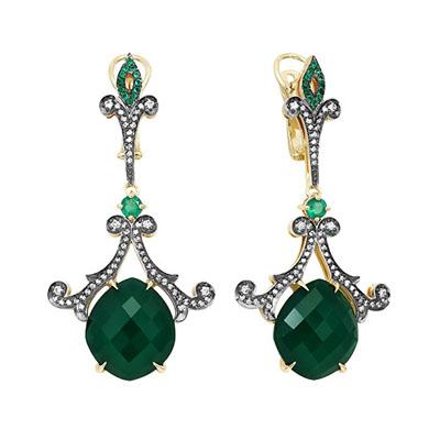 Серьги из лимонного золота с зелёным агатом, бриллиантом и ониксом арт. 02-л056 02-л056