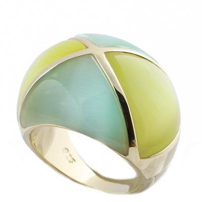 RIC225-10 Кольцо серебряное с позолотой