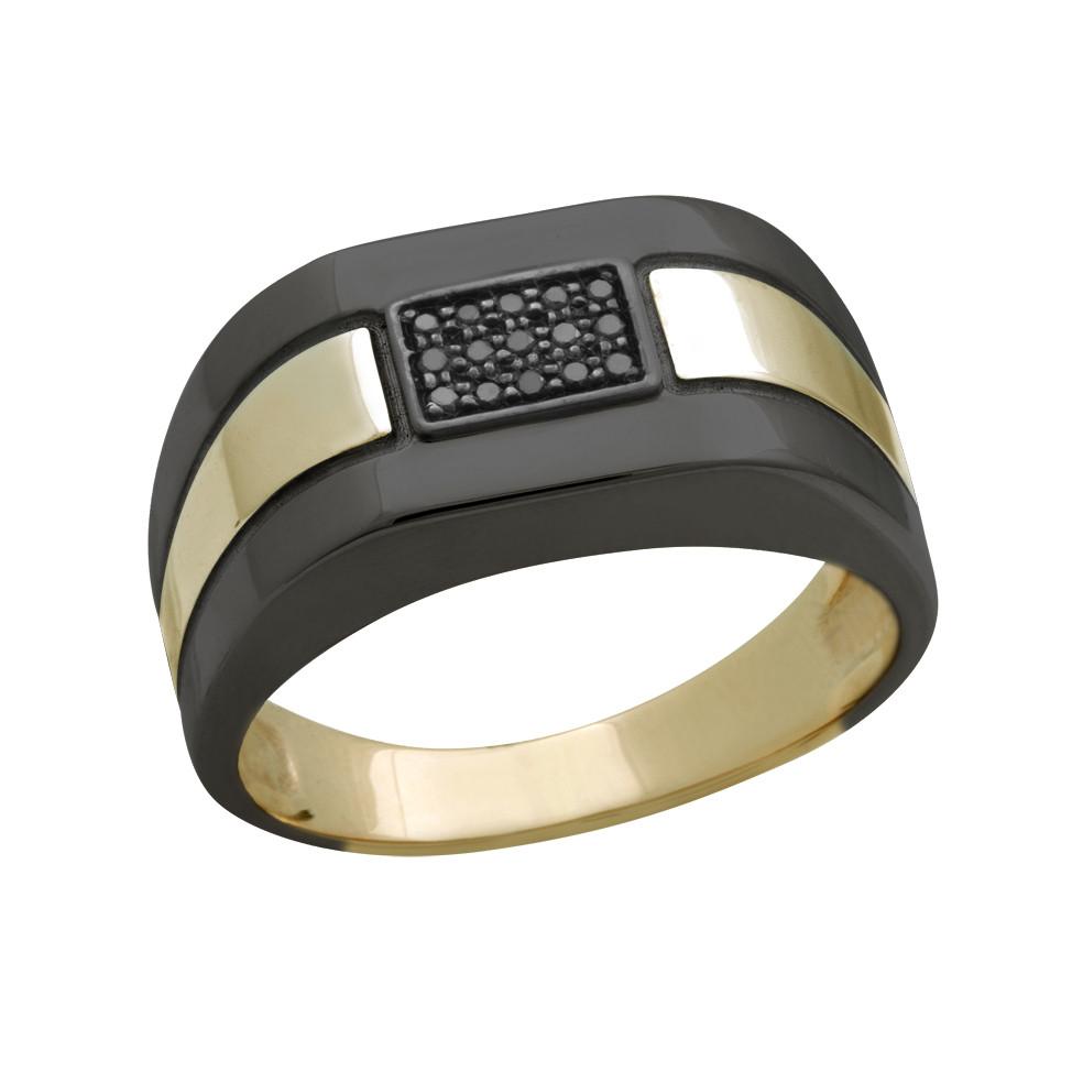 231073к б Золотая печатка с чёрным бриллиантом