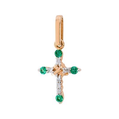 Золотой крест с бриллиантом и изумрудом арт. 1018673-11240-и 1018673-11240-и