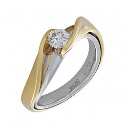 010556-ж/б Кольцо из белого золота