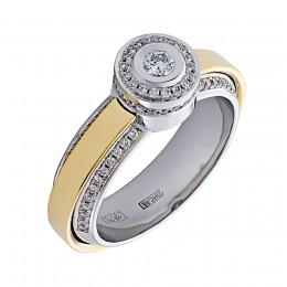 010533б/ж Кольцо из белого золота
