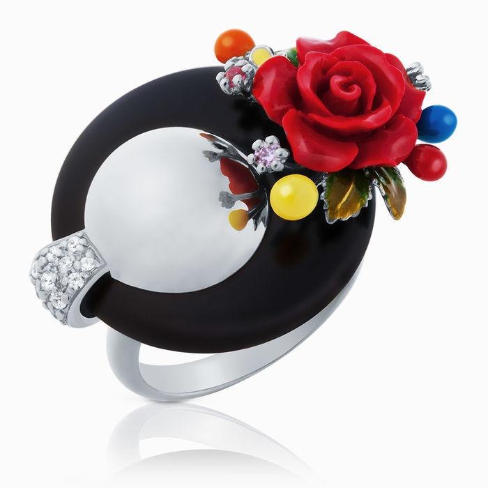 Серебряное кольцо Коралл, Оникс, Фианит и Эмаль арт. 03388 03388