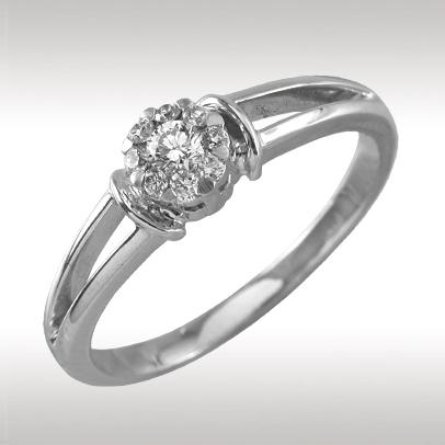 89396 Кольцо из белого золота
