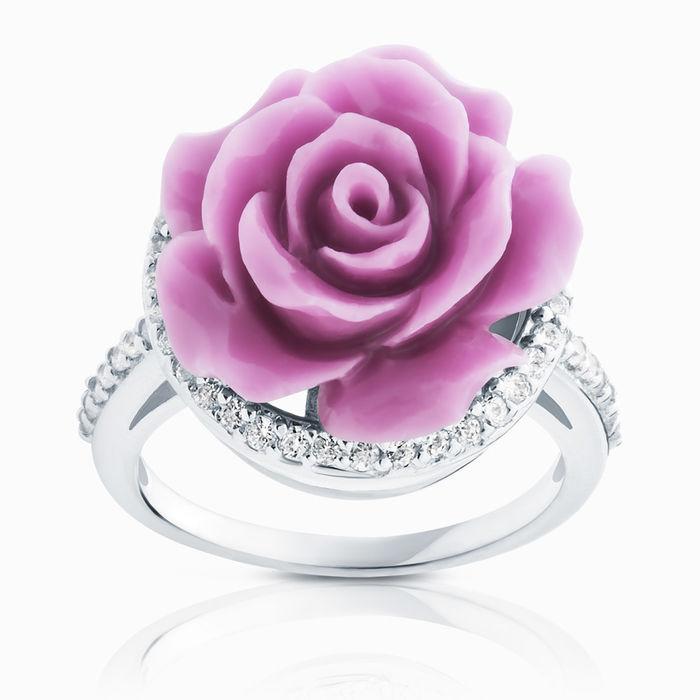 Серебряное кольцо Коралл и Фианит арт. 03125 03125