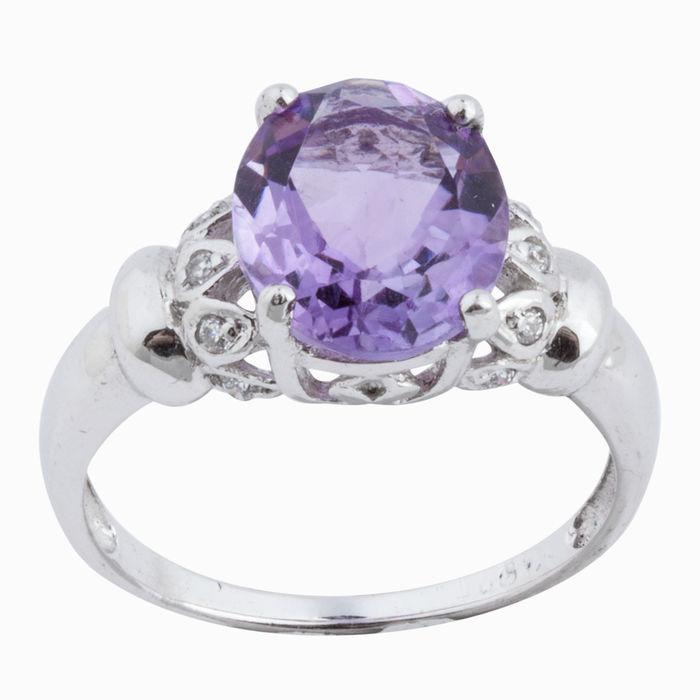 Серебряное кольцо Аметист и Фианит арт. 08681 08681