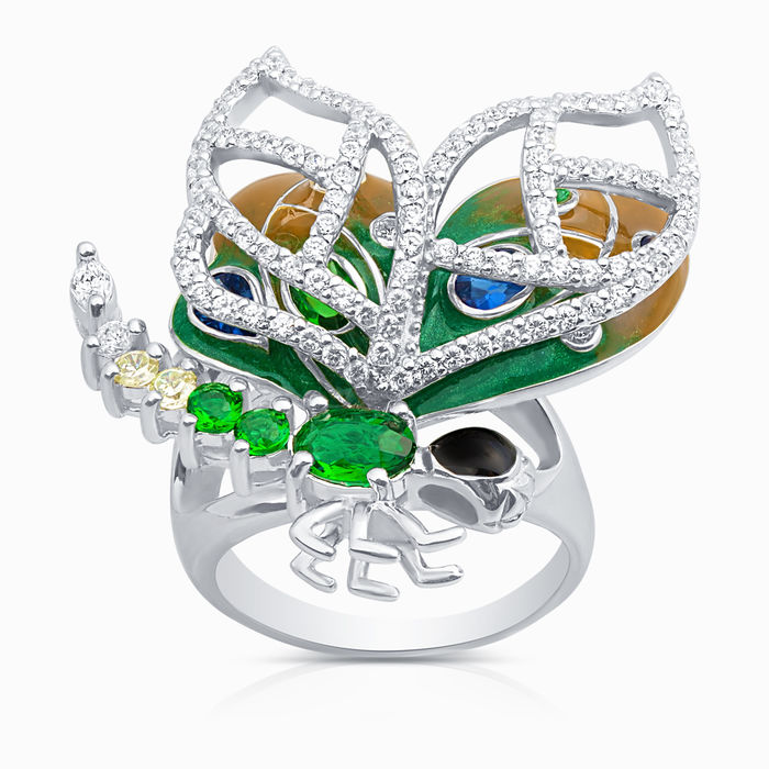 Серебряное кольцо Фианит и Эмаль арт. 09127 09127
