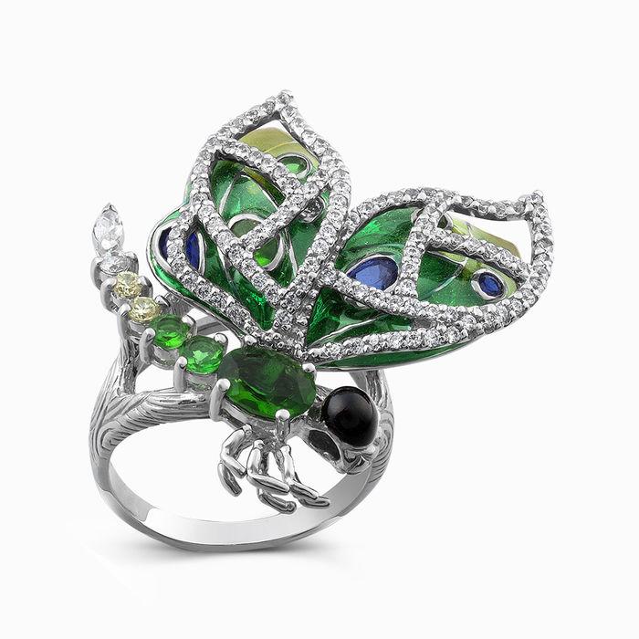 Серебряное кольцо Фианит и Эмаль арт. 00073 00073