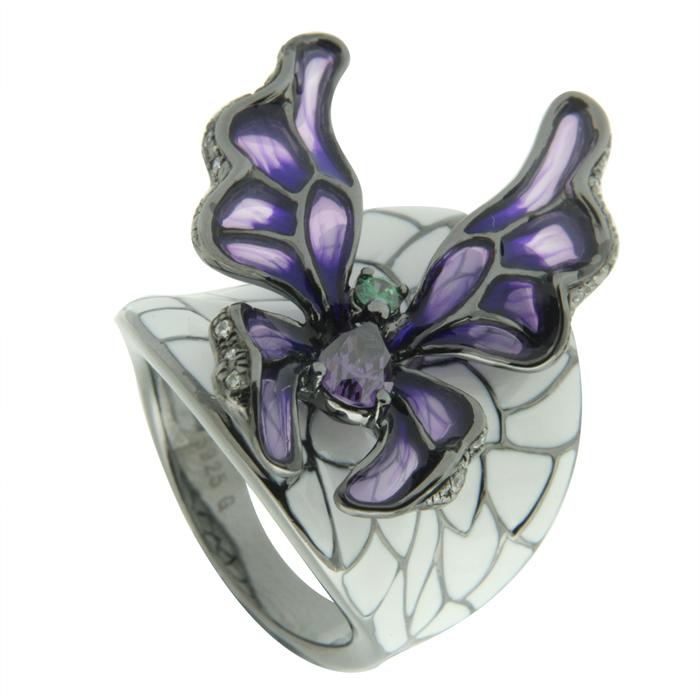 Серебряное кольцо Фианит и Эмаль арт. gr3902-zlam-b1 gr3902-zlam-b1